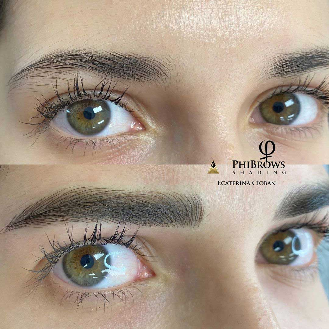 Microblading and shading before and after by PhiBrows Master Ecaterina Cioban