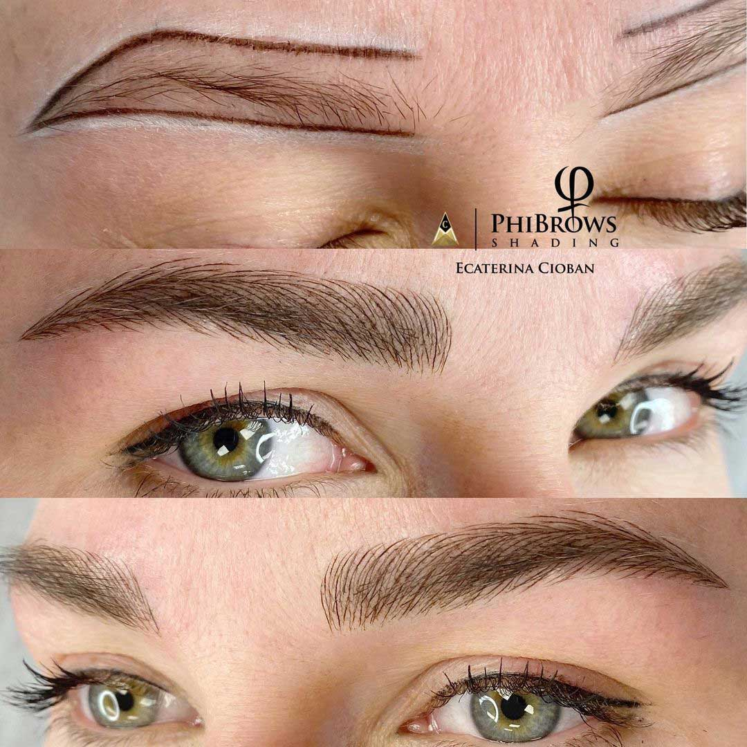Microblading and shading before and after by Ecaterina Cioban