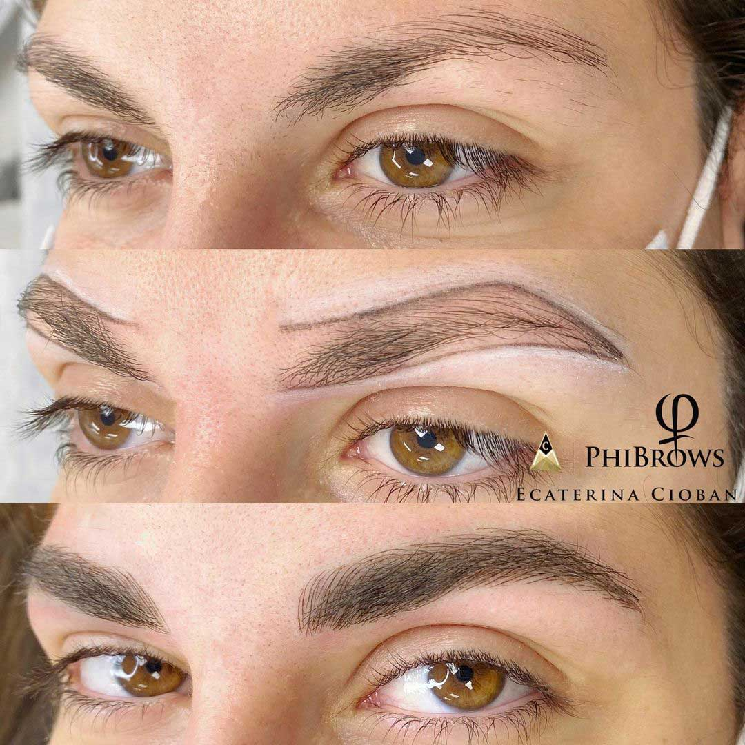 Microblading and shading before and after by PhiMaster Ecaterina Cioban