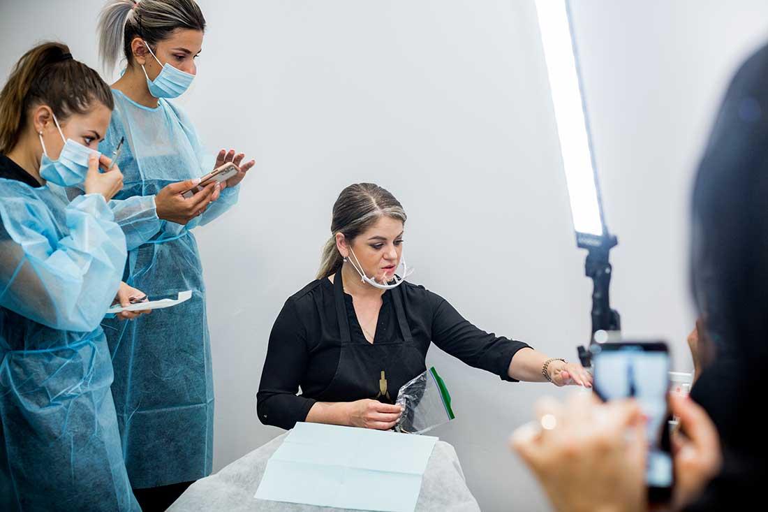 Ecaterina Cioban explains microblading technique