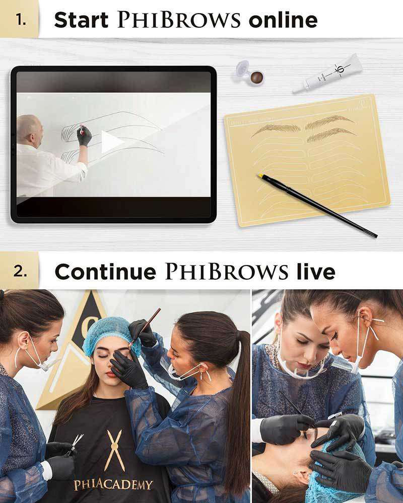 Start learning online and continue live microblading course
